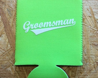 Groomsman Can Cooler - White Ink