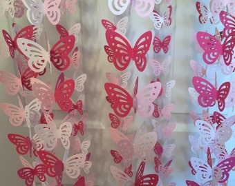 Mobile With Raspberry, Pink and White Butterflies