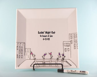 Hand Painted Bachelorette Signature Plate - Ladies Night Out