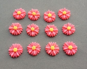 100pcs Rose Red Color Resin Sunflower Charms--14mm