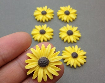 50pcs 25mm Yellow Color Resin Sunflower Charms