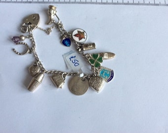 Antique childs silver charm bracelet
