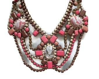 STRAWBERRY ICE inspired by Lisa Brown Designs hand painted rhinestone super statement necklace