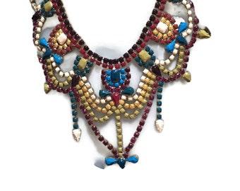 MARSALARAMA teal, marsala, mustard, cream and brown hand painted rhinestone statement bib necklace