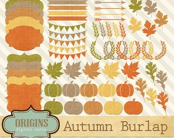 Autumn Burlap Clip Art, Fall clipart, burlap bunting banner, pumpkins, laurels, wheat, arrows, autumn leaves digital instant download