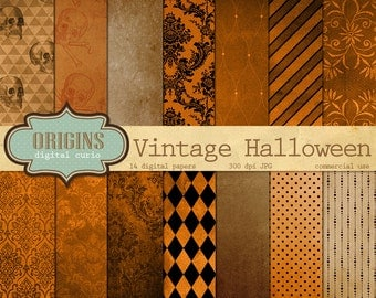 Vintage Halloween Digital Paper Textures - 14 Pack Premium Digital Paper Gothic, Grunge, Orange and Black Damask Pattern