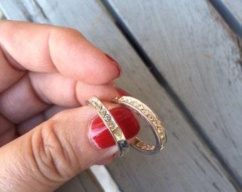 Sterling Hoop Earrings with Clear Stones -- 289