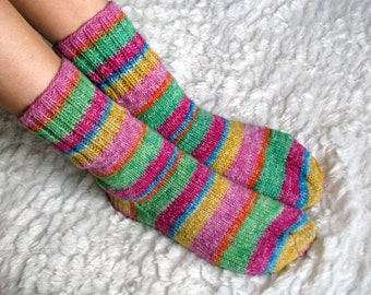 Hand Knitted Wool Socks Sleeping Socks Warm Winter by Spillija