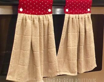Kitchen Towel Set, Tan Hanging Towel, Hanging Kitchen Towel , Red Tan Towel, Decorative Towel, Housewarming Gift. Modern Kitchen,