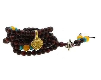 8mm Black Wood 108 Prayer Beads Mala Wrap Bracelet Necklace with a Brass Charm