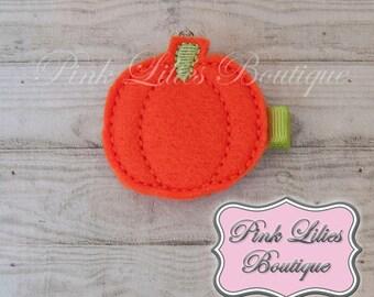 Halloween Felt Hair Clip, Pumpkin Hair Clip, Pumpkin Hair Bow, Halloween Hair Bow - Fall Hair Clip (Item #10205)