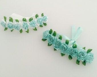 Aqua flower bun wreaths