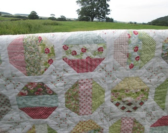 Handmade patchwork quilt, country style, bedspread, sofa throw, unique gift for her.