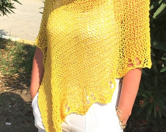 Yellow summer poncho, linen women wear , loose knit cotton poncho shrug cape capelet wrap , linen knit wear, womens wear,  gift for her
