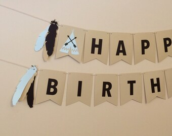 Little Indian Happy Birthday Banner - Black/Blue/Tan