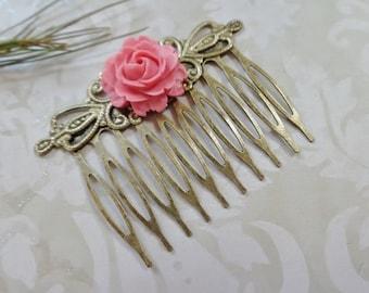 Petal Pink Rose Brass Comb