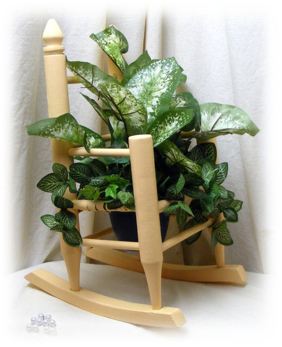 "DOLLY ROCKING CHAIR ""Upcycled"" With Greenery"