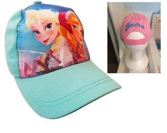 FROZEN Toddler Girls Anna & Elsa Baseball Hat - Blue Personalized