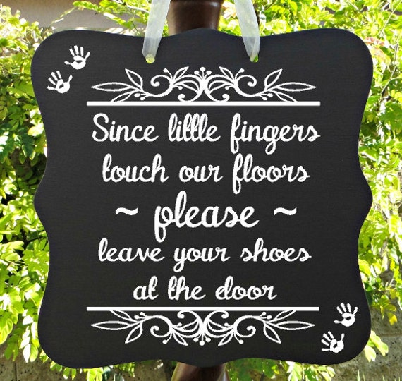 Please Leave Your Shoes At The Door Sign, Home Decor, Welcome Sign, Daycare Sign, Handprints