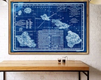 "Hawaii map 1893 Large old map of Hawaiian islands in 4 sizes up to 54x36"" (140x90cm) also in blue color - Limited Edition - Print 34"