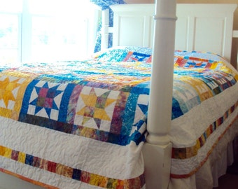 Quilt in Yellow, Orange, and Blue Batik -Queen Size Quilt with Colorful Stars-Handmade Beach Quilt Gift