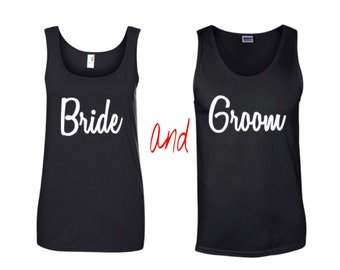 Bride and Groom Tank Tops~ mr and mrs  matching couple tank tops- set of 2 Tank tops-  Valentine's Day Shirts- Wedding gift tanks