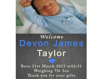 Boy BIRTH ANNOUNCEMENT, Printable Thank you Card, Baby Thank you card, Boy Baby Birth Announcement