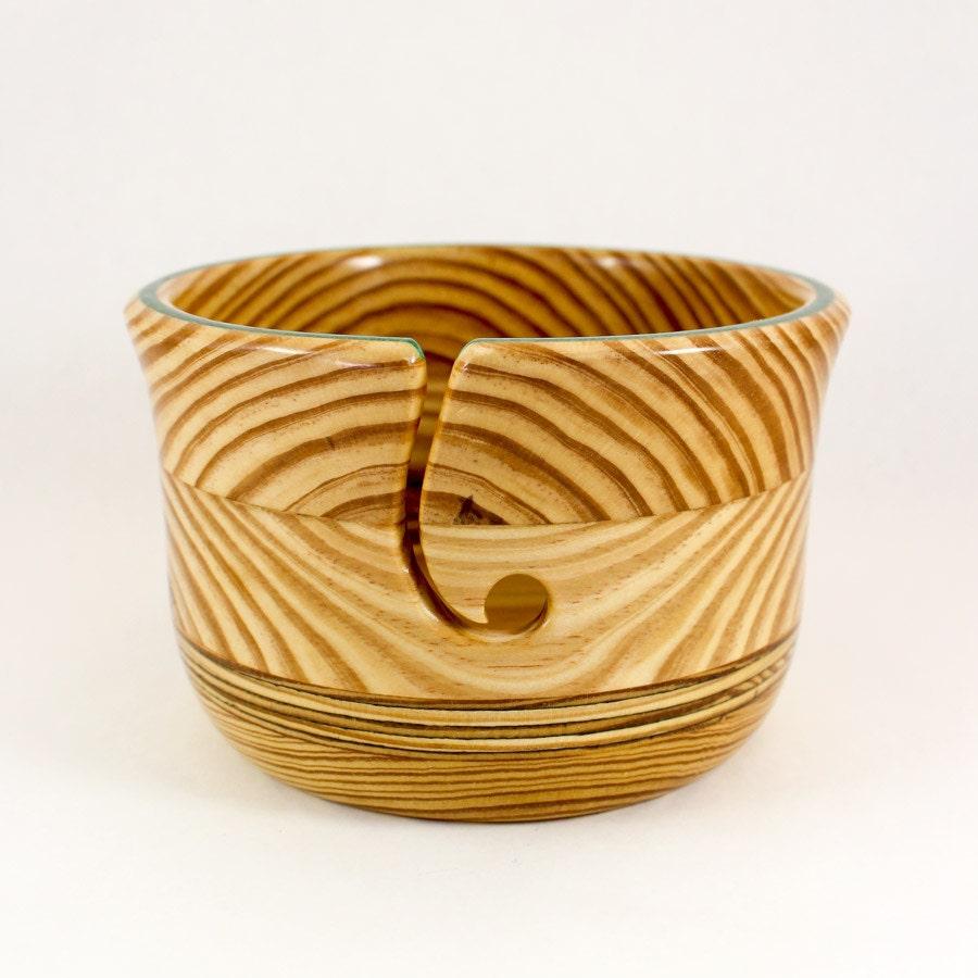 Knitting Bowls Wood : Large yarn bowl wood round guide green inlay