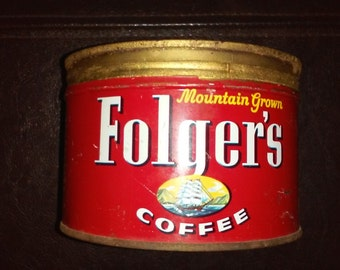 Vintage Folgers Coffee Can 1-lb Tin Advertising Can Kitchen Farmhouse Rustic Deor