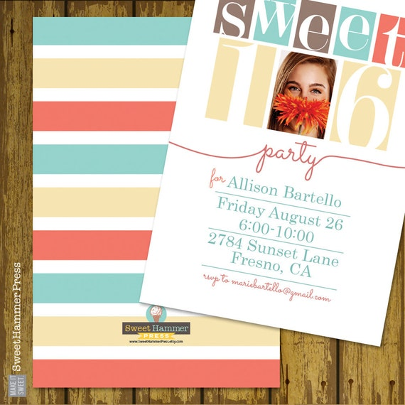 Sweet sixteen birthday party invitation digital file print it like this item solutioingenieria
