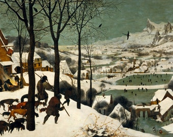 Hunters In The Snow by Pieter Bruegel, in various sizes, Giclee Print on Canvas