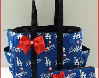 Los Angeles Dodgers diaper bag. Blue. Black. Red. Girl or boy. Tote. Matching wipe case.
