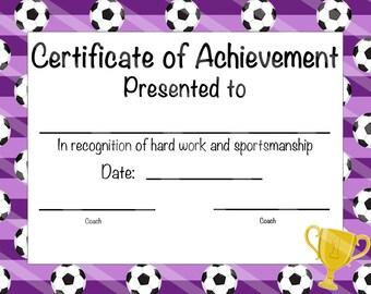 soccer certificate of achievement