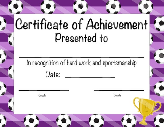 soccer certificate of participation soccer award print at home soccer mvp soccer certificate of achievement purple soccer theme