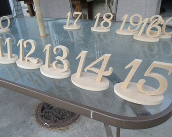 "20 Wedding reception anniversary 4"" table numbers W/ bases 1-20"