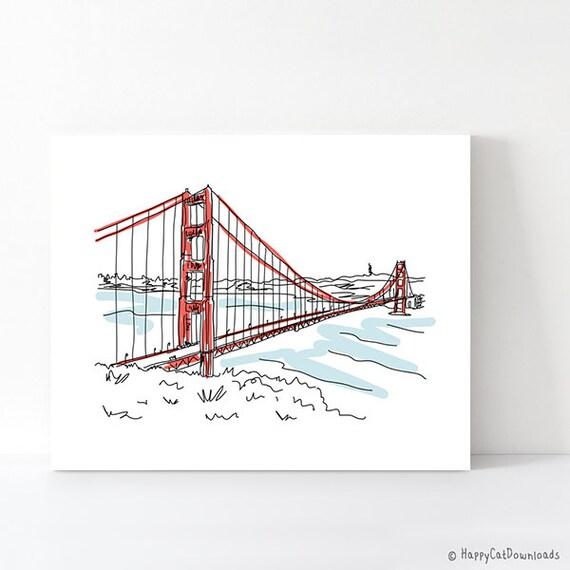 San Francisco Golden Gate Bridge Art Print By
