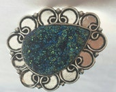 GENUINE Druzy - Deep Blue Titanium Druzy Ring set in 925 Sterling Silver - Size 9 - FREE SHIPPING - Mermaid Blue Druzy Stone Teardrop Ring