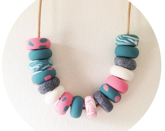 Alice - Polymer Clay Bead Necklace