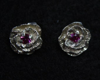 Rose with Stone - Sterling Silver Stud Earrings