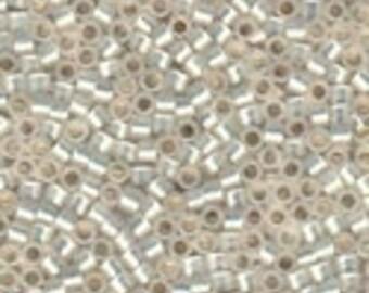 MIYUKI #11 Delica 221 - Gold Lined White Opal - 5 grams