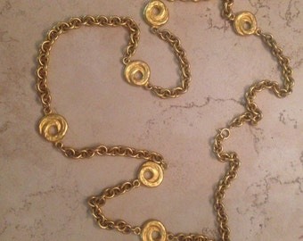 Vintage Gold Chain Necklace 1980s Costume Jewelry