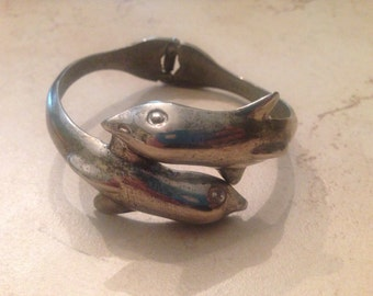 Vintage Dolphin Bracelet Silver Clamper Costume Jewelry