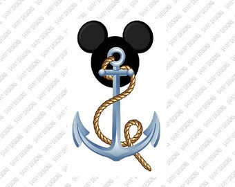 Disney Mickey Mouse Cruisin with Mickey Anchor Iron on Transfer personalized custom iron on Transfer T-shirt iron on