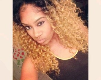 Kinky Curly Curl Brazilian ombre Dip Dye Human Double Weft Clip In Hair Extensions 1B Off Black 27 Caramel Blonde