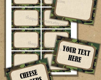 Camouflage Military / Soldier / Army Blank Place Cards Food Buffet Labels / Printable PDF DiY Editable INSTANT DOWNLOAD