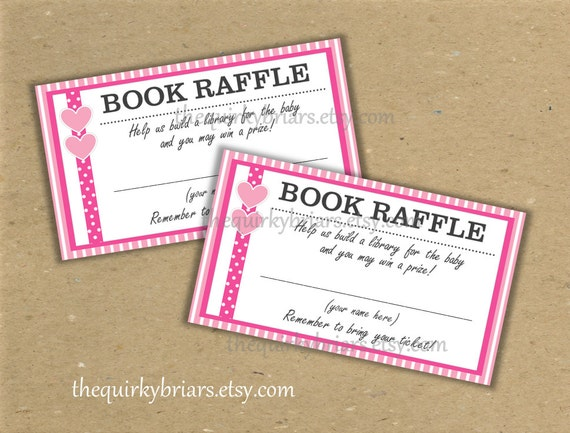 printable book raffle tickets    baby shower games    baby girl