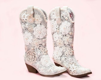 "White Crochet Lace Cowgirl Boots ""Grace"""
