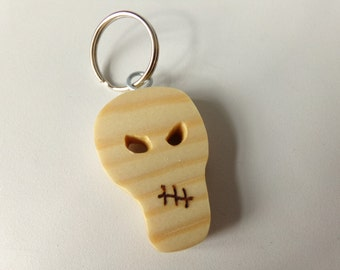 Pine Wood Skull Keyring Pyrography And Carving Details