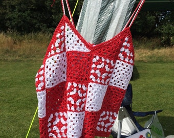 Crochet red and white top,