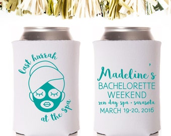 Spa Weekend Bachelorette Party Favors: Custom and Personalized Can Coolers // Mask Facial Spas